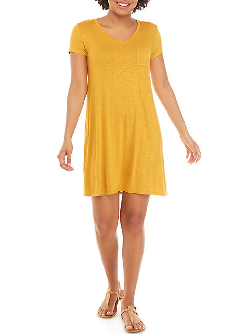 Short Sleeve X Back Pocket T Shirt Dress