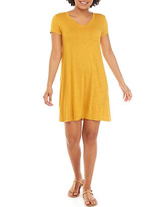 5d2683255e9 Pink Rose Short Sleeve X Back Pocket T Shirt Dress ...