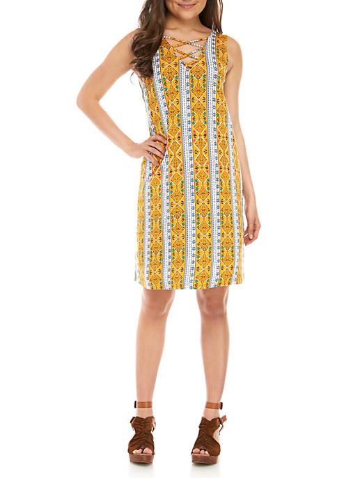 Lattice Neck Printed Swing Dress