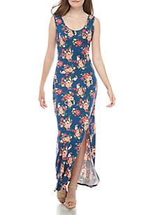 Pink Rose Sleeveless Floral Maxi Dress