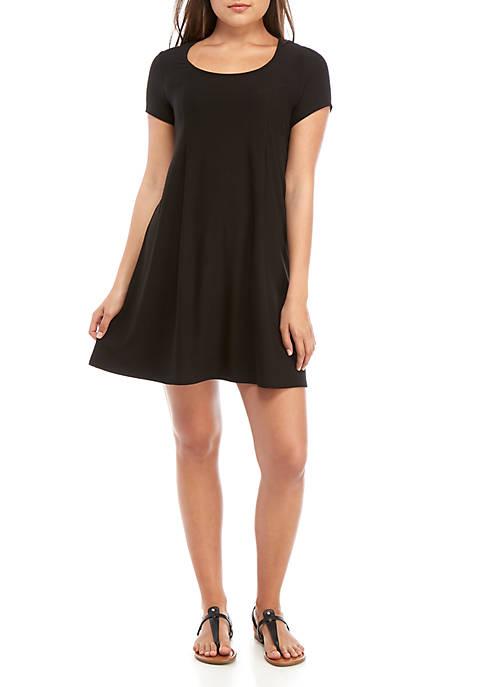 Short Sleeve Pleat Front Dress