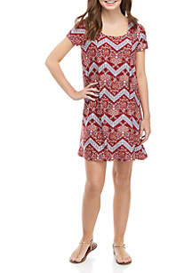 Pink Rose Short Sleeve Pleat Front Dress
