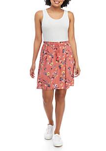 Pink Rose Sleeveless Paperbag Waist Dress