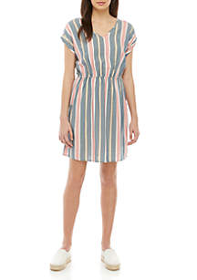 Pink Rose Short Sleeve Stripe Dress
