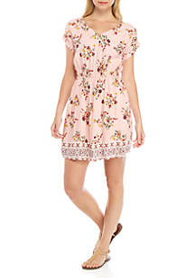 Pink Rose Short Sleeve Stripe Dress
