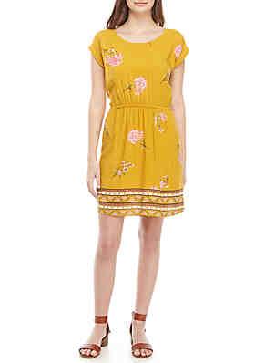 cd909a4dd8c Pink Rose Short Sleeve Printed Bar Back Dress ...