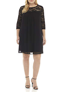 Plus Size Lace Yoke and Sleeve Dress