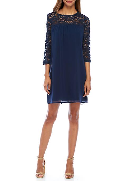 Luxology™ Lace Yoke Bell Sleeve Dress