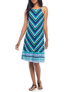 Printed Halter Shift Dress