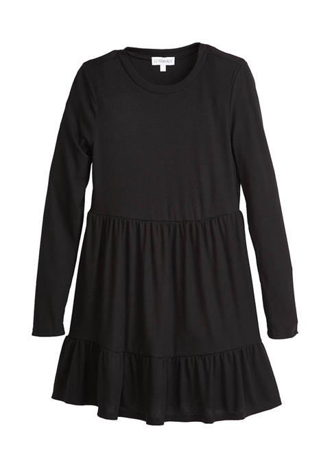 Womens Solid Rib Babydoll Dress