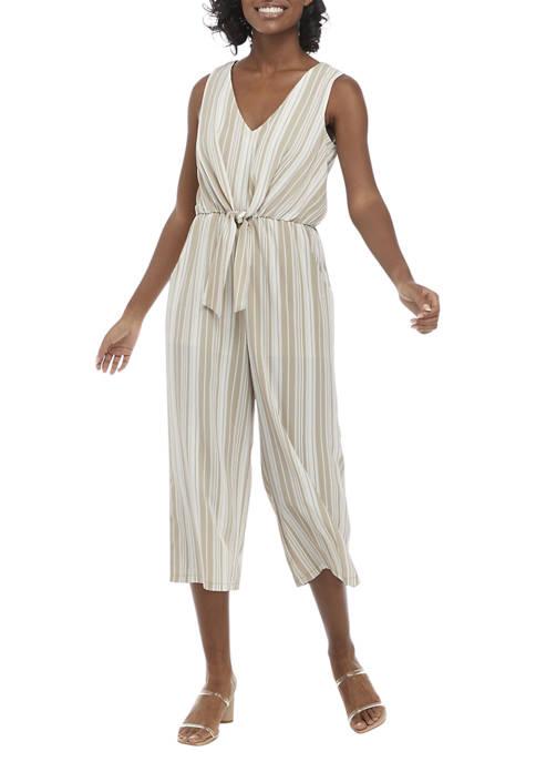 Luxology™ Tie Front Stripe Crop Jumpsuit