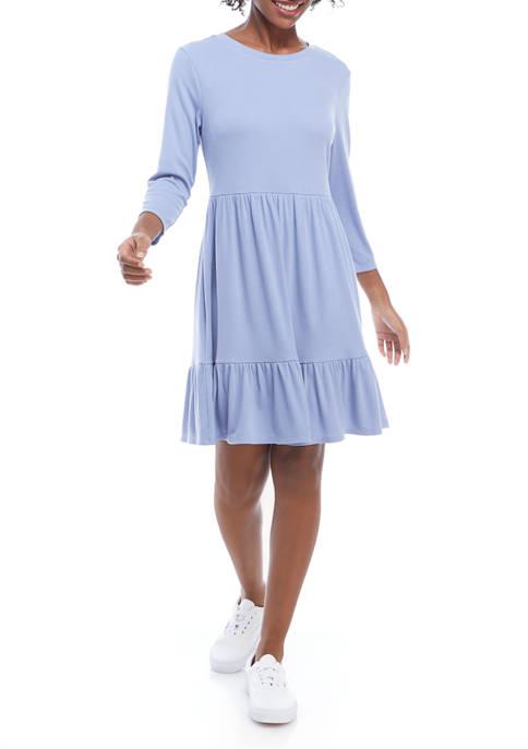 Luxology™ Womens 3/4 Sleeve Rib Knit Babydoll Dress