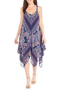 Maxi Print Handkerchief Hem Dress