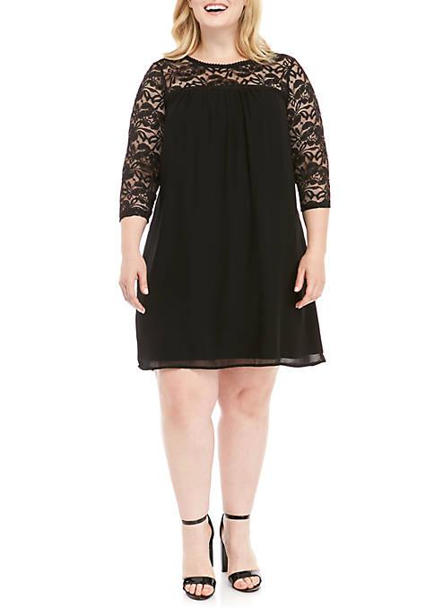 Plus Size Lace Yoke Bell Sleeve Dress