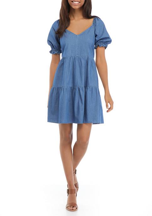 Womens Puff Sleeve Denim Babydoll Dress