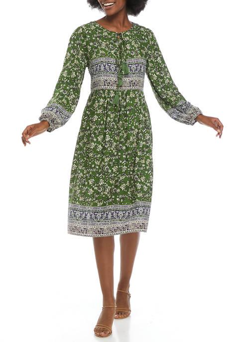 Womens Boho Border Midi Dress