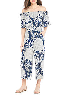 Bow Sleeve Floral Jumpsuit