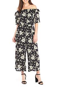 Bow Sleeve Floral Printed Jumpsuit