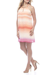 Tie-Dye Stripe Keyhole Neck Dress