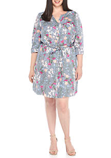 Plus Size Floral Stripe Belted Shirt Dress