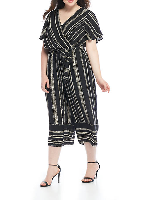 Plus Size Short Sleeve Side Tie Striped Jumpsuit
