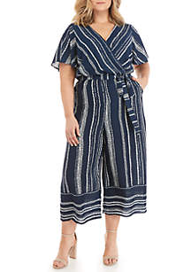 Luxology™ Plus Size Short Sleeve Side Tie Striped Jumpsuit
