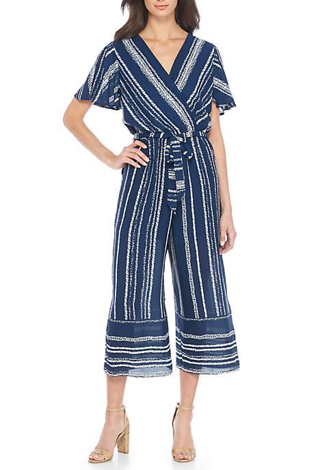 Luxology™ Short Sleeve Stripe Jumpsuit