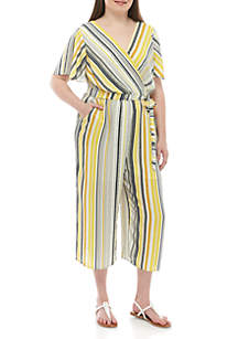 Luxology™ Plus Size Short Sleeve Wrap Stripe Jumpsuit