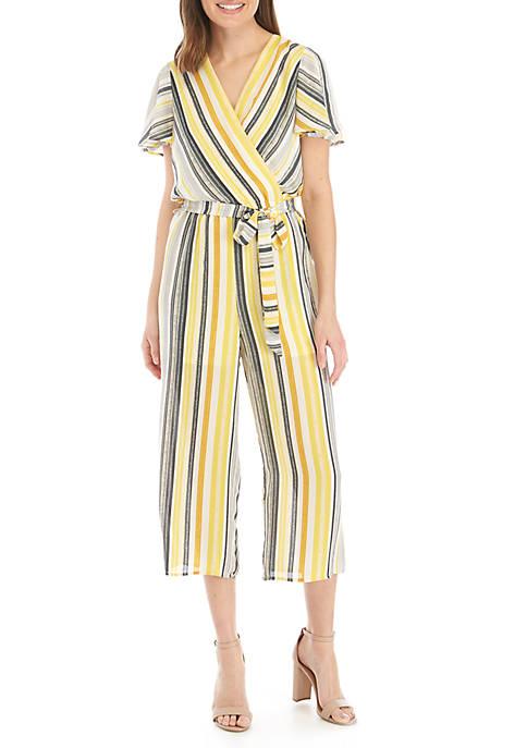 Short Sleeve Stripe Wrap Cropped Jumpsuit