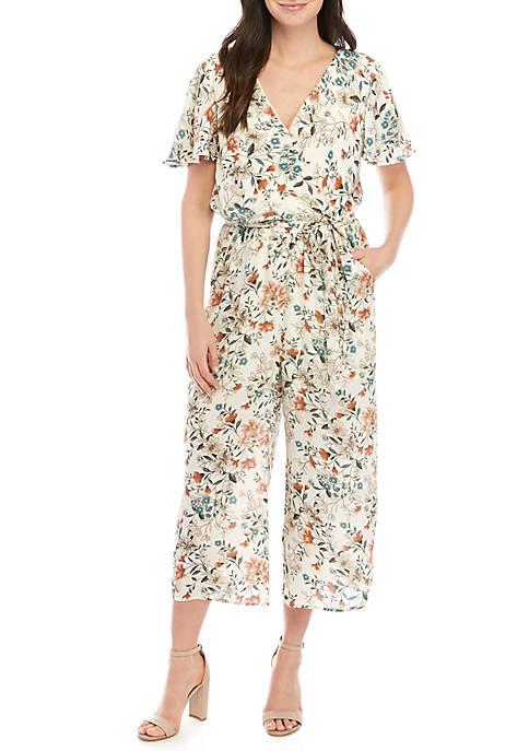 Short Sleeve Wrap Floral Crop Jumpsuit
