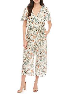 Luxology™ Short Sleeve Wrap Floral Crop Jumpsuit