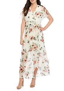 Luxology™ Ruffle Sleeve High Low Maxi Dress