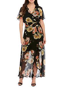 Luxology™ Short Flutter Sleeve Floral Maxi Dress