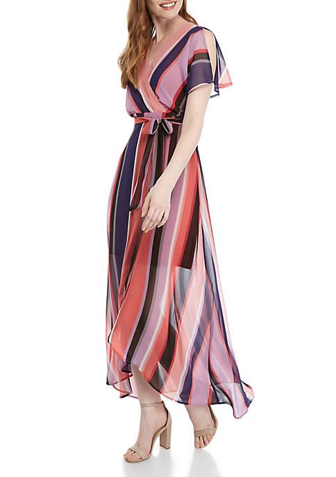 Dolman Sleeve Multi Stripe Maxi Dress