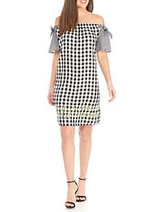 Cas Off-the-Shoulder Gingham Dress