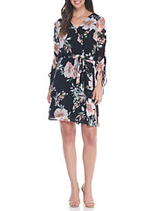Long Sleeve Chiffon Floral Surplus Tie Dress