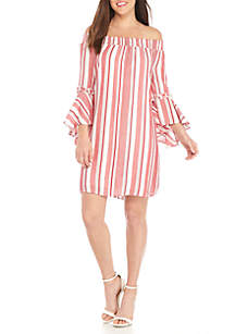 Cas Off-the-Shoulder Stripe Ruffle Sleeve Dress