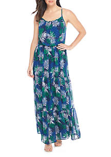 Maxi Tiered Printed Halter Dress