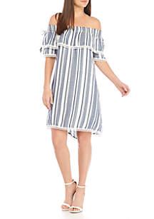 Cas Off-the-Shoulder Stripe Dress