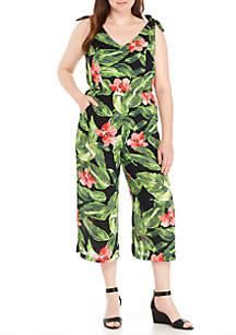 Floral Print Shoulder Tie Jumpsuit
