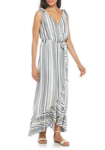 Maxi Sleeveless Faux Wrap Dress