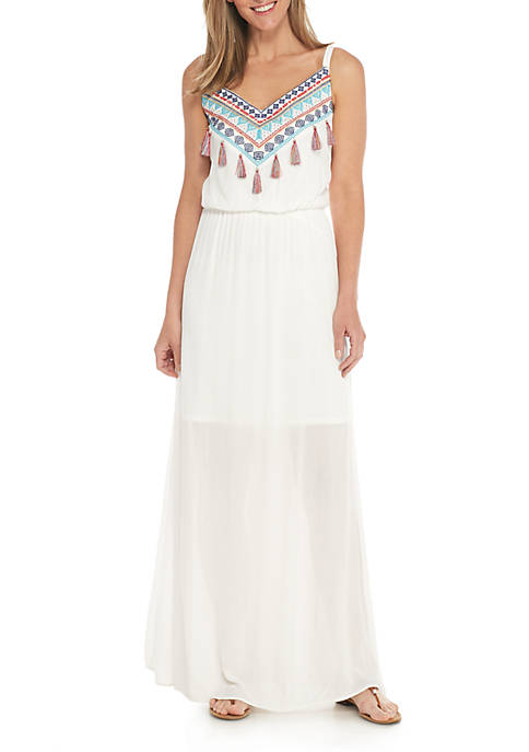 Luxology™ Strappy Tassel Maxi Dress
