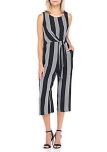 Tie Front Stripe Jumpsuit