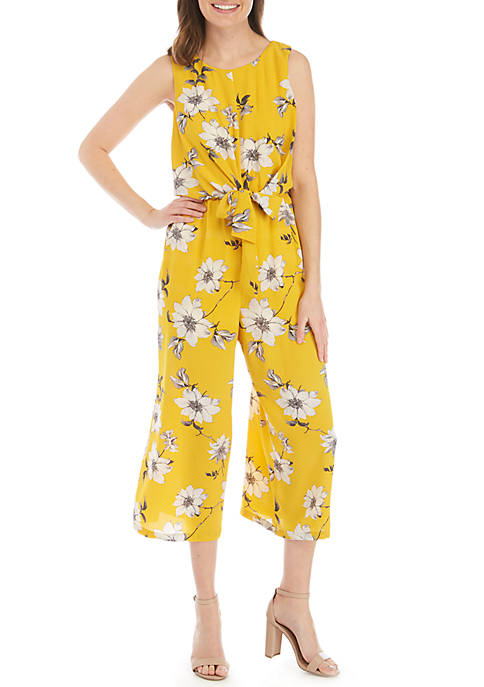 Sleeveless Knot Front Floral Jumpsuit