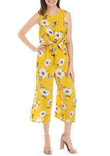 Luxology™ Sleeveless Knot Front Floral Jumpsuit