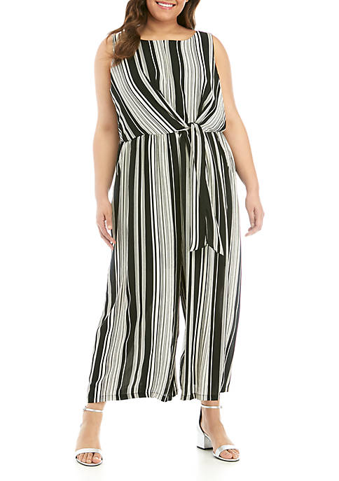 Luxology™ Plus Size Sleeveless Knot Front Stripe Jumpsuit