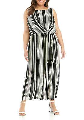 023259e1f139 Luxology™ Plus Size Sleeveless Knot Front Stripe Jumpsuit ...