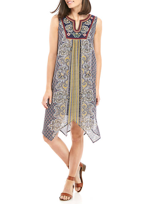 Luxology™ Sleeveless Printed Hanky Hem Dress