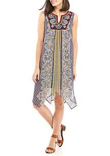 Sleeveless Printed Hanky Hem Dress