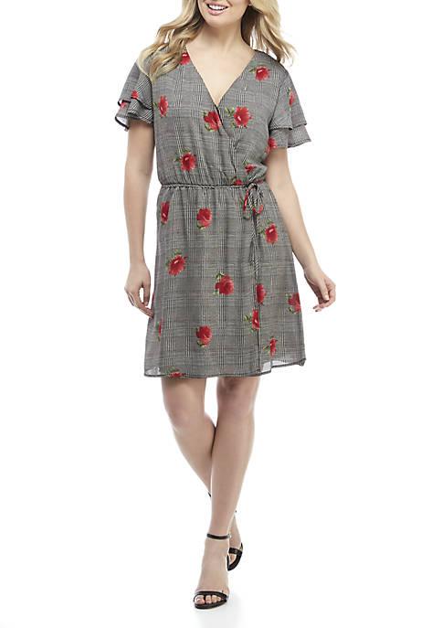 Luxology™ Floral Print Plaid Wrap Dress